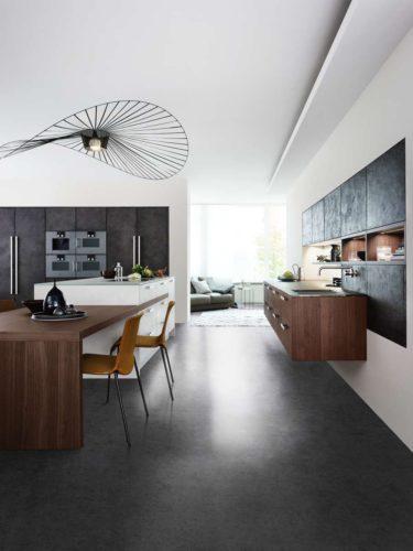Leicht Küche, Beton Küche, Design Küche, Esstisch in Küche, integrierter Esstisch