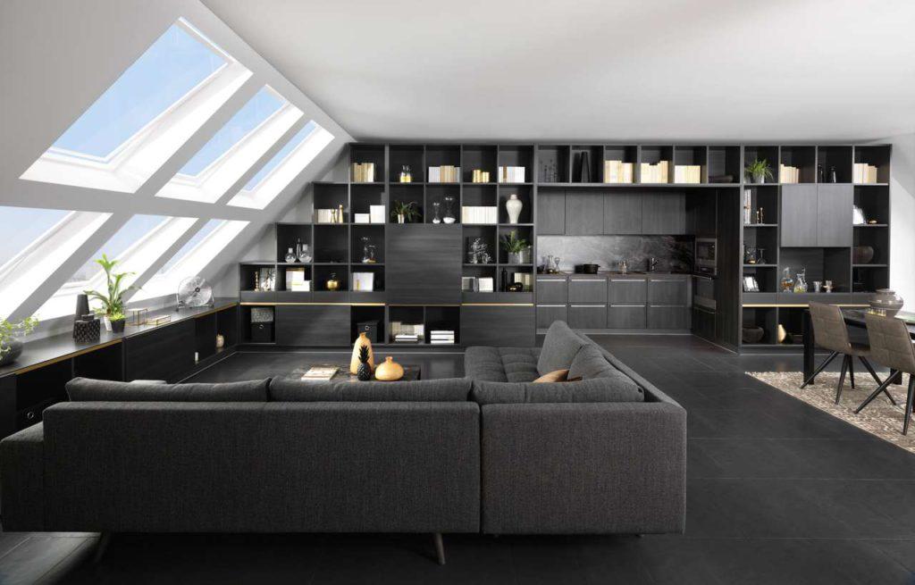 Wohnküche, Regalküche, Küche im Wohnzimmer, Küchenregal