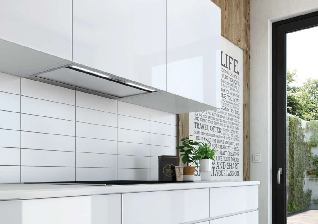 Die neue berbel Einbauhaube Firstline Unseen präsentiert sich superkompakt und integriert sich nahezu unsichtbar in die Küchenfront. Foto: Berbel