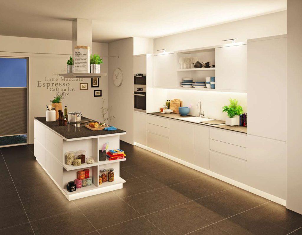 Praktisch und schön zugleich: In der Küche dient die indirekte LED-Beleuchtung ebenso als Stimmungslicht. Foto: djd/Paulmann Licht
