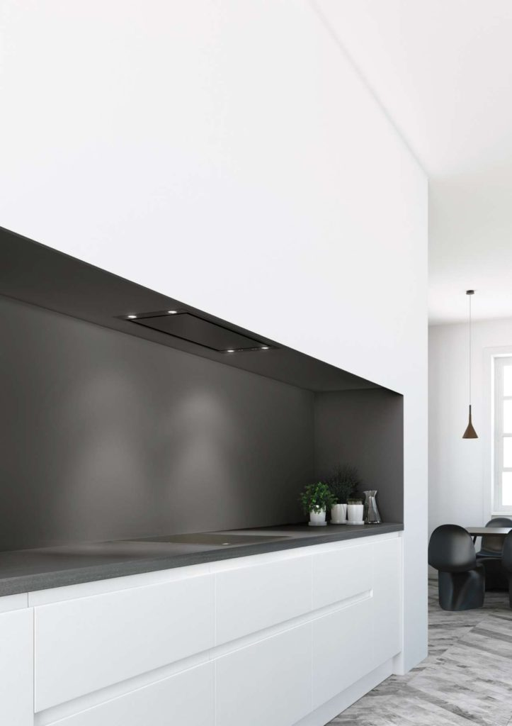 Pure'line: Auch ausgewählte Größen der meistverkaufte Decken-Einbauhaube der Welt gibt es jetzt in edlem Schwarz. Foto: Novy