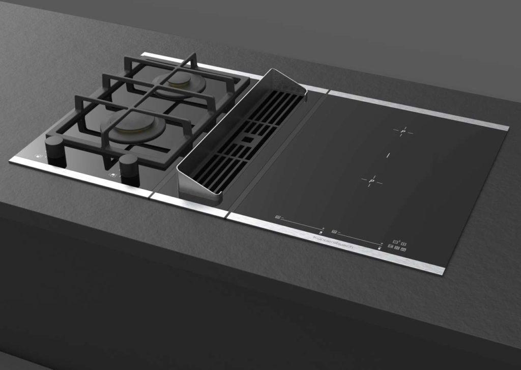Durch den neuen Gas Deflektor können bei dem modularen VarioLine Konzept ab sofort auch Gas-Kochfelder direkt neben die Muldenlüftung platziert werden. Foto: ©Küppersbusch