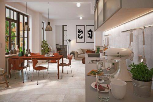 Moderne Bodenfliesen sorgen in der Küche für Komfort, im Essbereich für ein ansprechendes Ambiente. Foto: djd/Deutsche-Fliese.de/Grohn