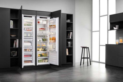 Der Trend geht zum Großkühlschrank mit mehr als 300 Litern Fassungsvermögen und unterschiedlichen Nutzungszonen, der als Soli-tär an einer Küchenwand stehen oder eingebaut sein kann. (Foto: AMK)