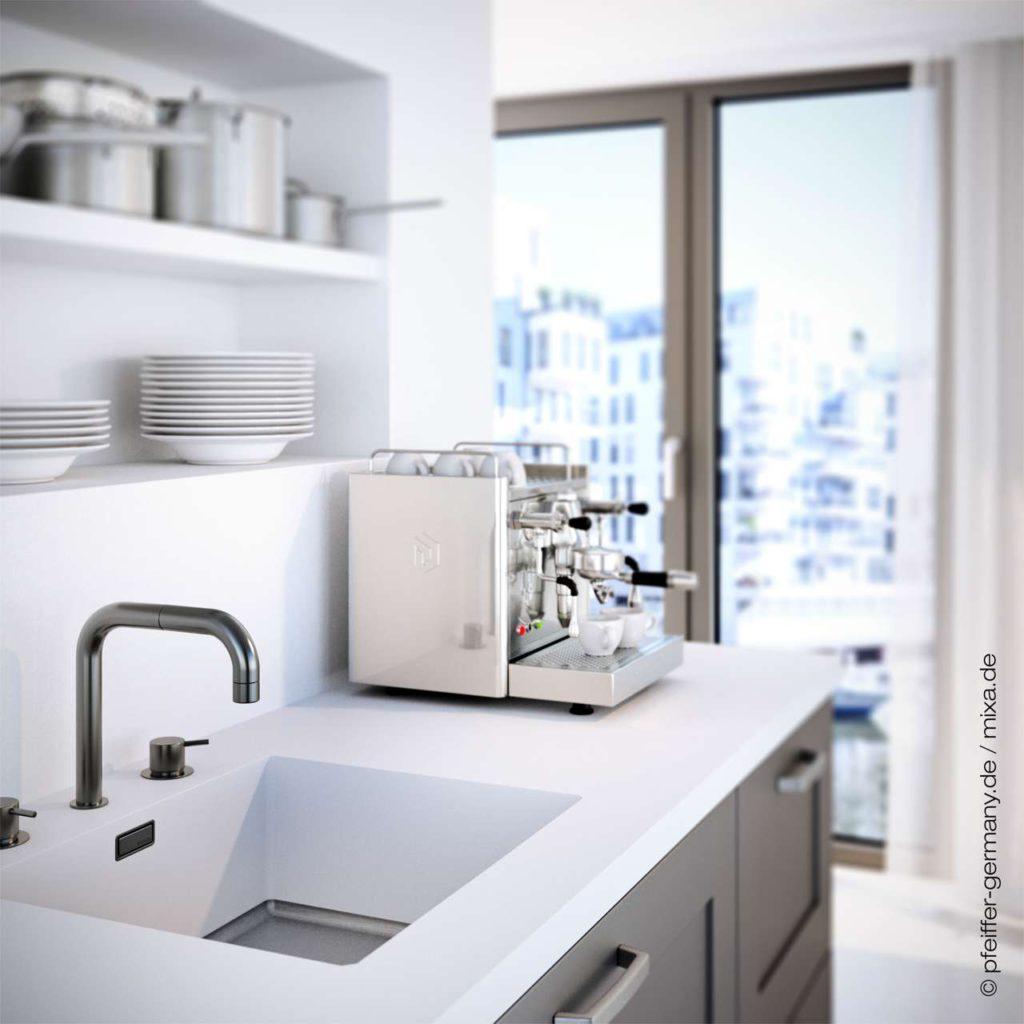 MIXA® Spülen haben 10 Jahre unbegrenzte Installationsgarantie, wenn der Einbau durch einen autorisierten Facharbeiter durchgeführt wurde. <br> Foto: Pfeiffer GmbH & Co. KG