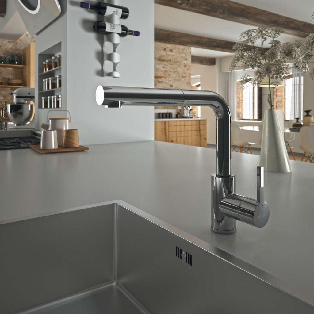 Edle Akzente und technischer Innovationen, die für mehr Komfort und Funktionalität beim Kochen und Zubereiten sorgen, setzen die neuen Armaturen von MONDO. Foto: MONDO