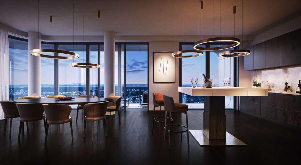 Die Wohninsel mit integriertem Kochfeld und vielen weiteren Funktionen, konzipiert als minimalistisches Quadrat, lädt zum Leben ein und ist das Zentrum des täglichen Zusammenseins. Foto: BODI Interiors
