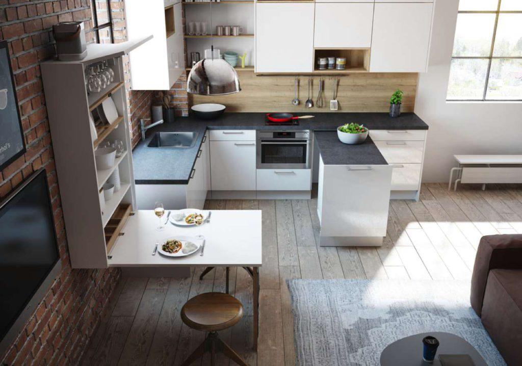 ewe Raumwunder mit Wand-Klapptisch. Foto: ewe Küchen