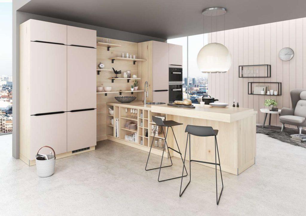 Küche in rosa, Rosa Küche, Rosa Küchenmöbel