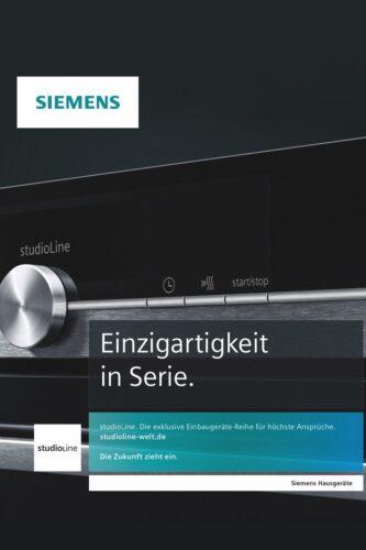 Siemens – studioLine. Die exklusive Einbaugeräte-Reihe für höchste Ansprüche
